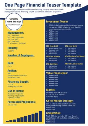 One Page Financial Teaser Template Presentation Report Infographic PPT PDF Document