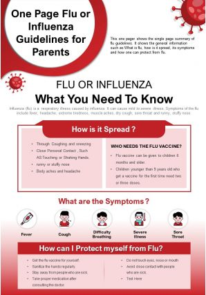 One Page Flu Or Influenza Guidelines For Parents Presentation Report Infographic PPT PDF Document