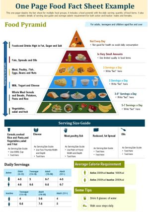 One Page Food Fact Sheet Example Presentation Report Infographic PPT PDF Document