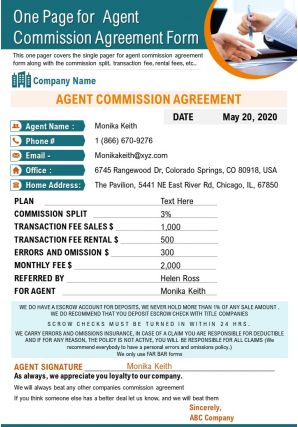 One Page For Agent Commission Agreement Form Presentation Report Infographic PPT PDF Document