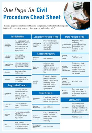 One Page For Civil Procedure Cheat Sheet Presentation Report Infographic PPT PDF Document