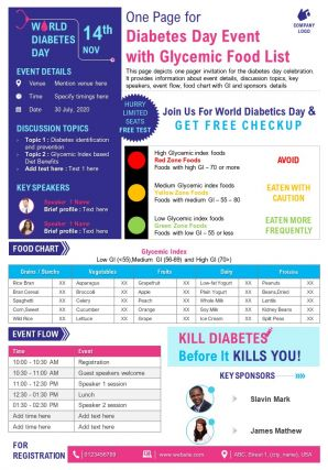 One Page For Diabetes Day Event With Glycemic Food List Presentation Report Infographic PPT PDF Document