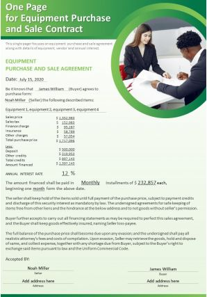 One Page For Equipment Purchase And Sale Contract Presentation Report Infographic PPT PDF Document