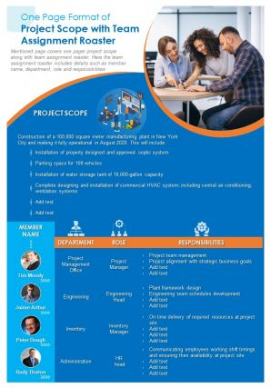 One Page Format Of Project Scope With Team Assignment Roaster Presentation Report Infographic PPT PDF Document