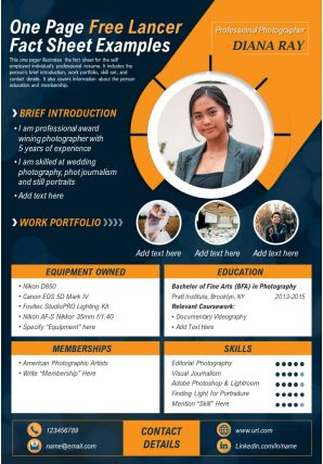 One Page Free Lancer Fact Sheet Examples Presentation Report Infographic Ppt Pdf Document