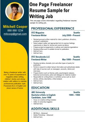 One Page Freelancer Resume Sample For Writing Job Presentation Report Infographic PPT PDF Document