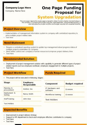 One Page Funding Proposal For System Upgradation Presentation Report Infographic PPT PDF Document