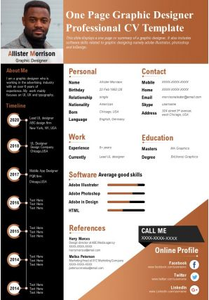 One Page Graphic Designer Professional CV Template Presentation Report Infographic PPT PDF Document
