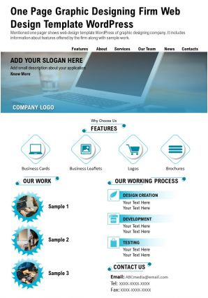 One Page Graphic Designing Firm Web Design Template Wordpress Presentation Report Infographic PPT PDF Document