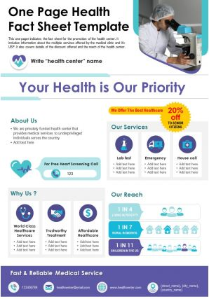One Page Health Fact Sheet Template Presentation Report Infographic PPT PDF Document