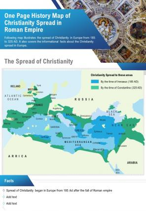 One Page History Map Of Christianity Spread In Roman Empire Presentation PPT PDF Document