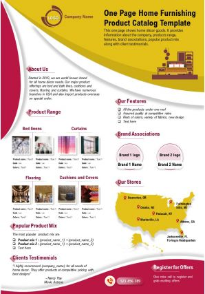 One Page Home Furnishing Product Catalog Template Presentation Report Infographic PPT PDF Document
