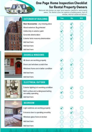 One Page Home Inspection Checklist For Rental Property Owners Presentation Report Infographic PPT PDF Document