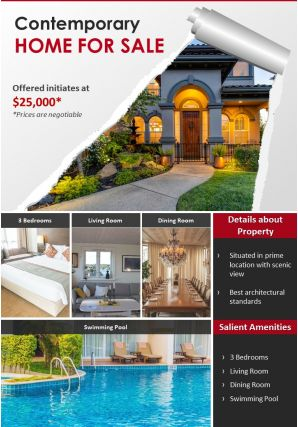 One Page House For Sale Brochure Template