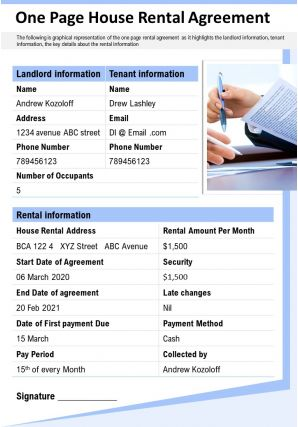 One Page House Rental Agreement Presentation Report Infographic PPT PDF Document