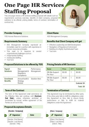 One Page HR Services Staffing Proposal Report Presentation Report Infographic PPT PDF Document
