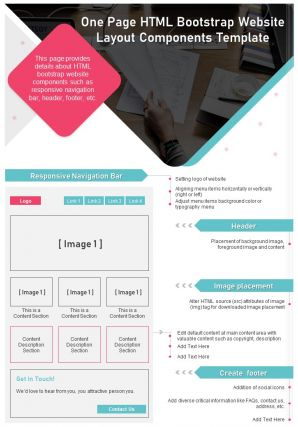 One Page HTML Bootstrap Website Layout Components Template Presentation Report Infographic PPT PDF Document