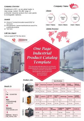 One Page Industrial Product Catalog Template Presentation Report Infographic PPT PDF Document