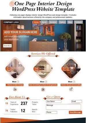 One Page Interior Design Wordpress Website Template Presentation Report Infographic PPT PDF Document
