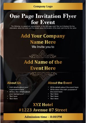 One Page Invitation Flyer For Event Presentation Report Infographic PPT PDF Document