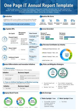 One Page IT Annual Report Template Presentation Report Infographic PPT PDF Document