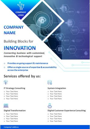 One Page IT Consulting Brochure Template