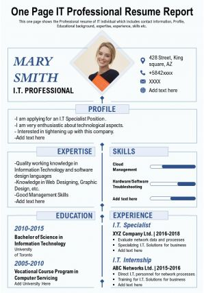 One Page IT Professional Resume Report Presentation Report Infographic PPT PDF Document