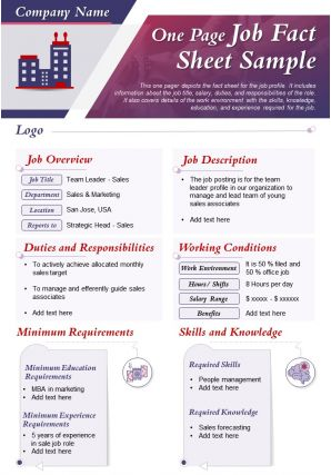 One Page Job Fact Sheet Sample Presentation Report Infographic PPT PDF Document