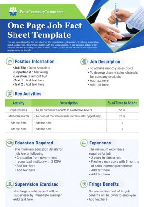 One Page Job Fact Sheet Template Presentation Report Infographic PPT PDF Document