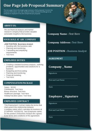 One Page Job Proposal Summary Presentation Report Infographic PPT PDF Document