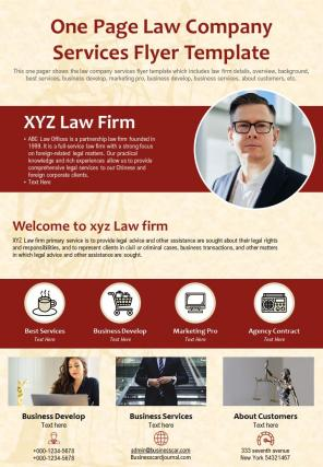 One Page Law Company Services Flyer Template Presentation Report PPT PDF Document