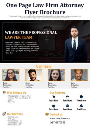 One Page Law Firm Attorney Flyer Brochure Presentation Report PPT PDF Document