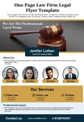 One Page Law Firm Legal Flyer Template Presentation Report PPT PDF Document