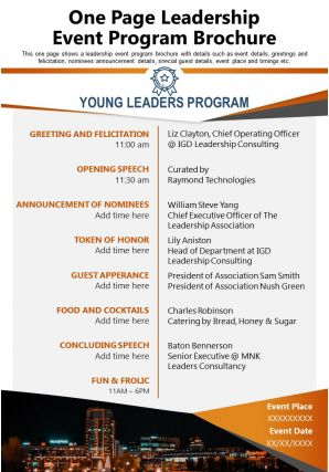 One Page Leadership Event Program Brochure Presentation Report Infographic PPT PDF Document