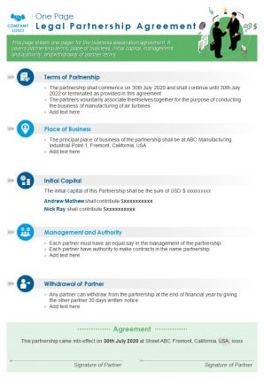 One Page Legal Partnership Agreement Presentation Report Infographic PPT PDF Document
