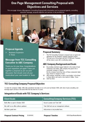 One Page Management Consulting Proposal With Objectives And Services Report Infographic PPT PDF Document