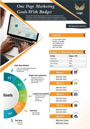 One Page Marketing Goals With Budget Presentation Report Infographic PPT PDF Document