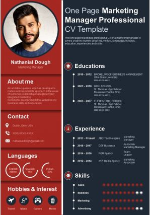 One Page Marketing Manager Professional CV Template Presentation Report Infographic PPT PDF Document