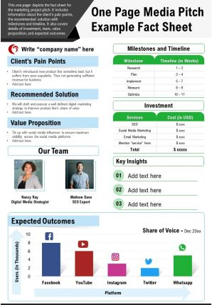 One Page Media Pitch Example Fact Sheet Presentation Report PPT PDF Document