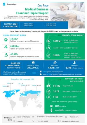 One Page Medical Business Economic Impact Report Presentation Report Infographic PPT PDF Document