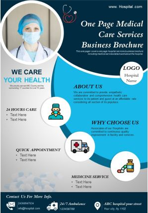 One Page Medical Care Services Business Brochure Presentation Report Infographic PPT PDF Document