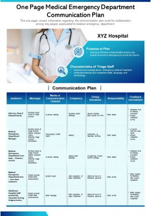 One Page Medical Emergency Department Communication Plan Presentation Report Infographic PPT PDF Document