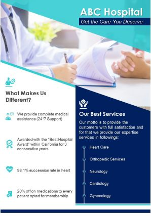 One Page Medical Services Brochure Template