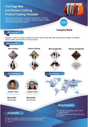 One Page Men And Women Clothing Product Catalog Template Presentation Report Infographic PPT PDF Document