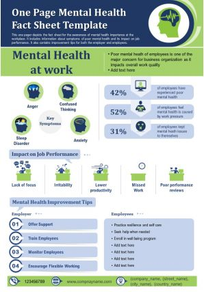 One Page Mental Health Fact Sheet Template Presentation Report PPT PDF Document