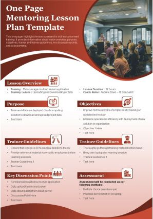 One Page Mentoring Lesson Plan Template Presentation Report Infographic PPT PDF Document