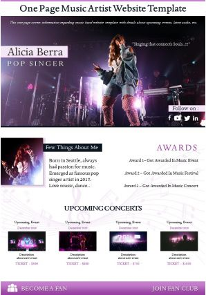 One Page Music Artist Website Template Presentation Report Infographic PPT PDF Document