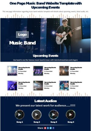 One Page Music Band Website Template With Upcoming Events Presentation Report Infographic PPT PDF Document