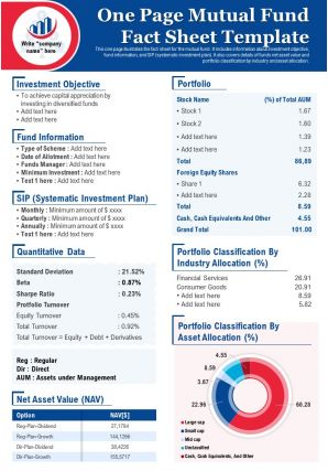 One Page Mutual Fund Fact Sheet Template Presentation Report PPT PDF Document