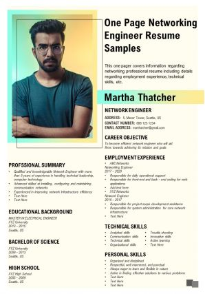 One Page Networking Engineer Resume Samples Presentation Report Infographic PPT PDF Document